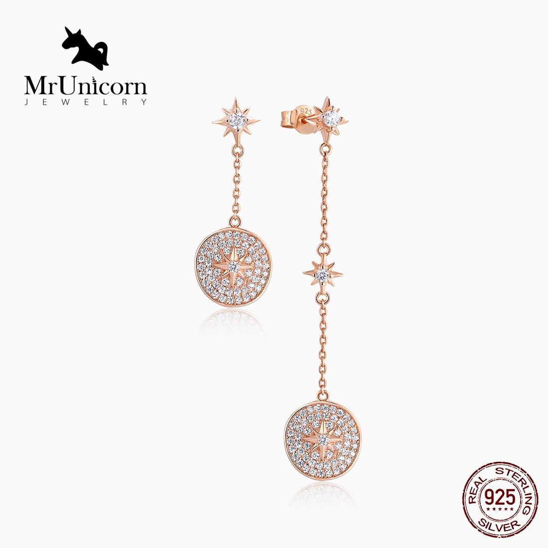 MrUnicorn S925 Silver Asymmetric star stud earrings for ladies six-pointed star sterling silver earr