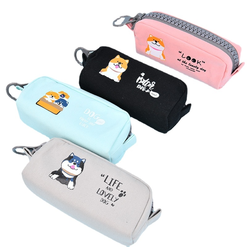 2/4/ set of creative stationery cute boys and girls pencil box pen bag box Large zipper student capacity school office supplies