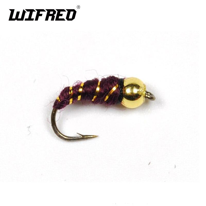 Wifreo 8 шт. #14 Пластиковая Золотая головка из бисера Nymph Midge маленькие жуки для форели Bream Blue Gill Fly Fishing