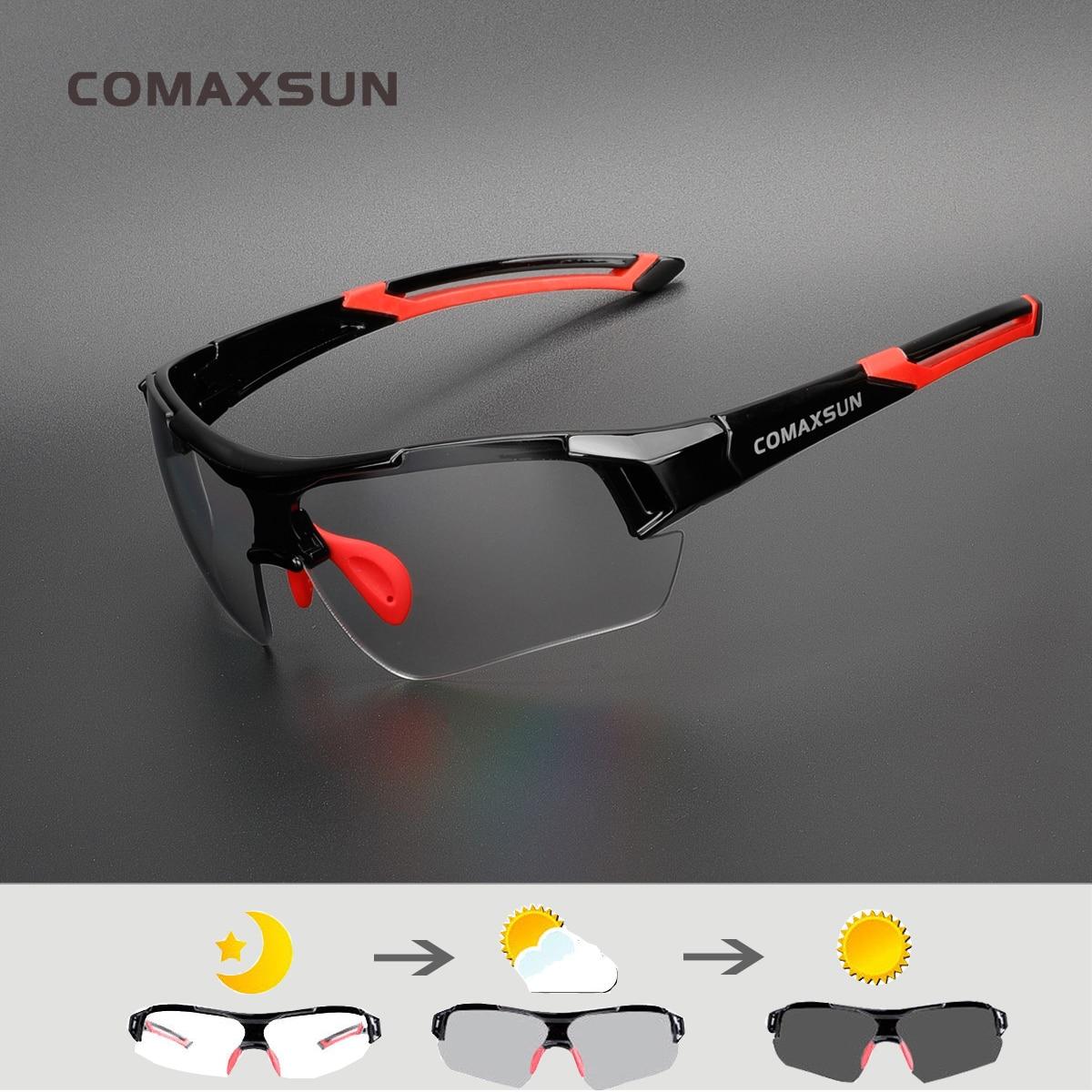 COMAXSUN Photochromic Cycling Glasses Discoloration Glasses MTB Road Bike Sport Sunglasses Bike Eyewear Bicycle Goggles 2 Style