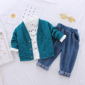 Children's Boys Knitted Cardigan Shirt Cardigan Sweater+Shirt + Casual Trousers Fashion Spring And Autumn Three-Piece Suit1-4Y