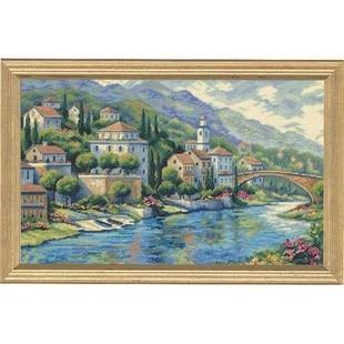 100% algodón de Egipto Popular contó Cruz puntada Kit de Panorama italiano Vista Ciudad casa pintoresca DIM 35246