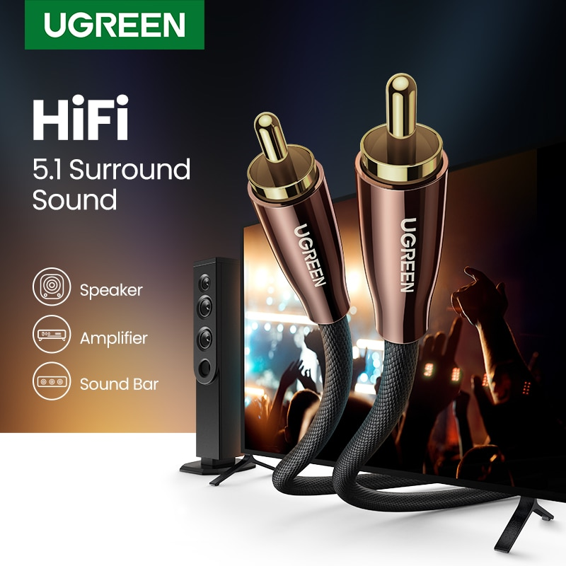Ugreen HiFi 5.1 SPDIF RCA to RCA Male to Male Coaxial Cable Stereo Audio Cable Nylon 3m 5m RCA Video