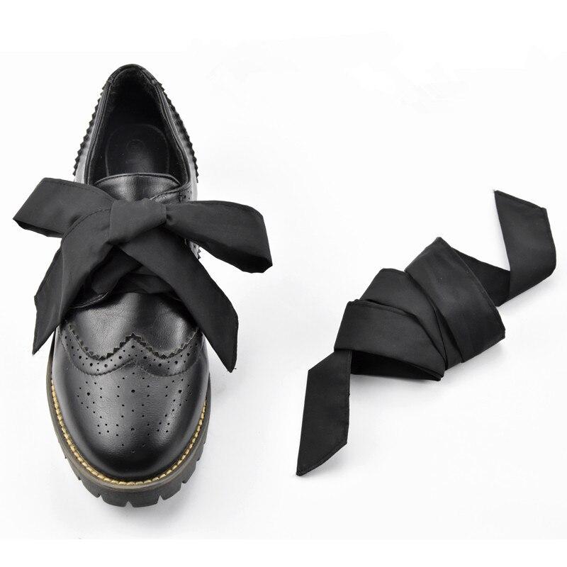 Cordones de 4 cm Wildth Brock hechos a mano, lazo negro de doble cinta, cordones tallados estilo británico, cordones para zapatos de piel para mujeres, Dropship