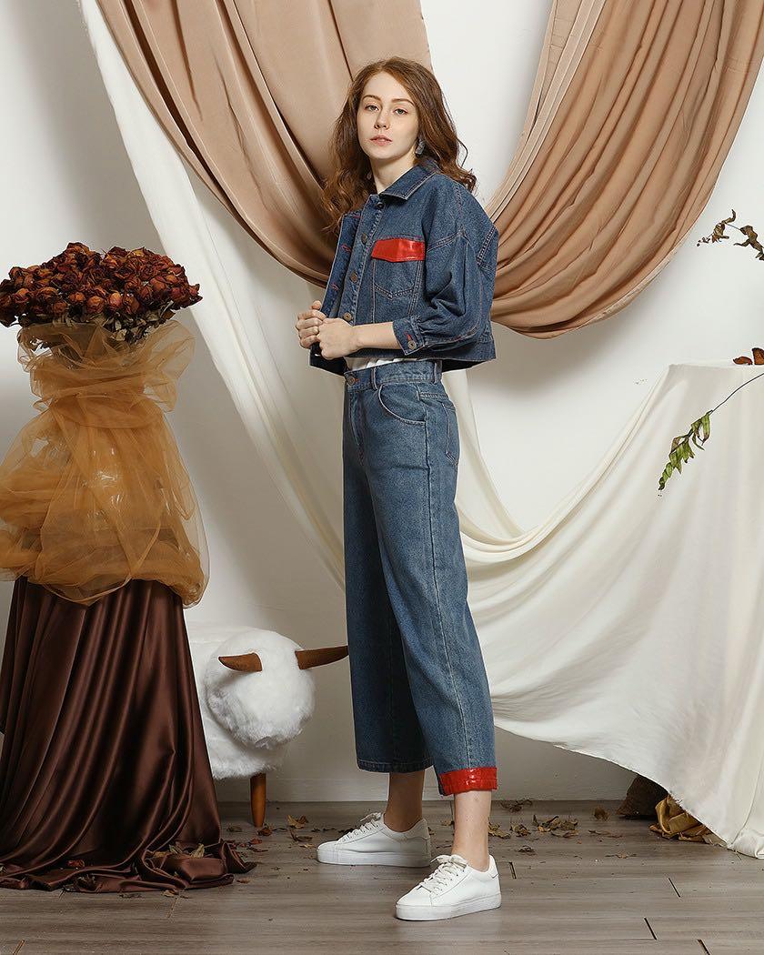 Women's Elegant Patchwork Denim Pants,Designer Style Stitched jeans for Ladies