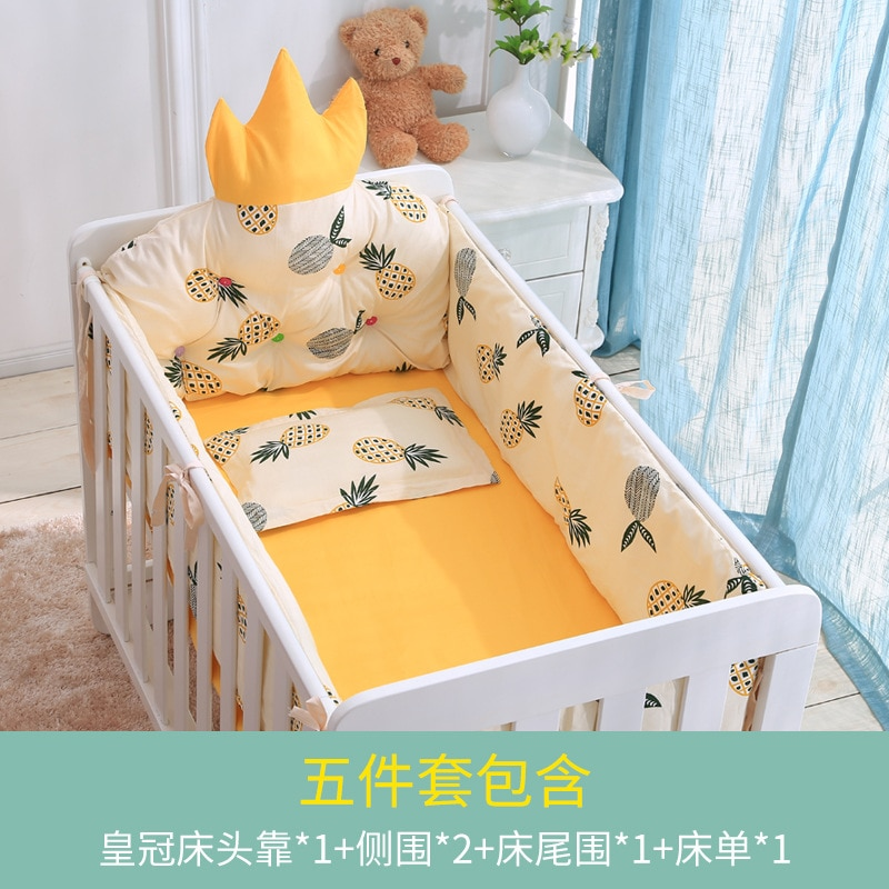 5pcs A Variety of Pattern Designs Crib Bedding Set Cotton Toddler Baby Bed Linens Include Baby Cot Bumpers Bed Sheet Pillowcase enlarge
