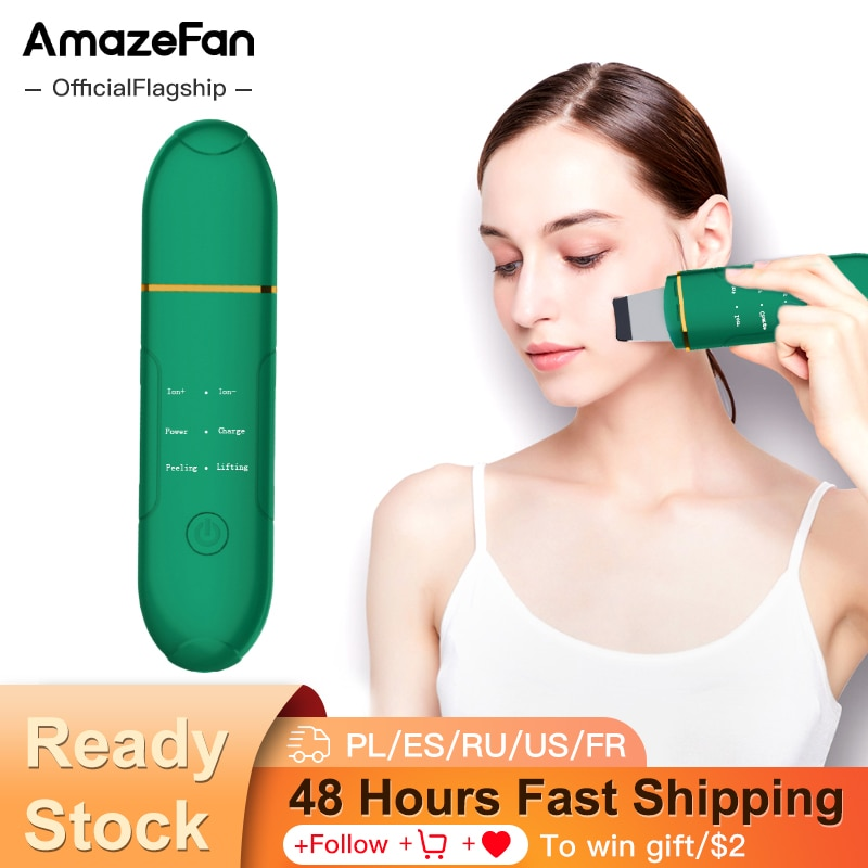 Amazefan ultrasonic surface cleaning EMS to blackhead acne portable beauty device deep cleaning pore tight skin care scrubber