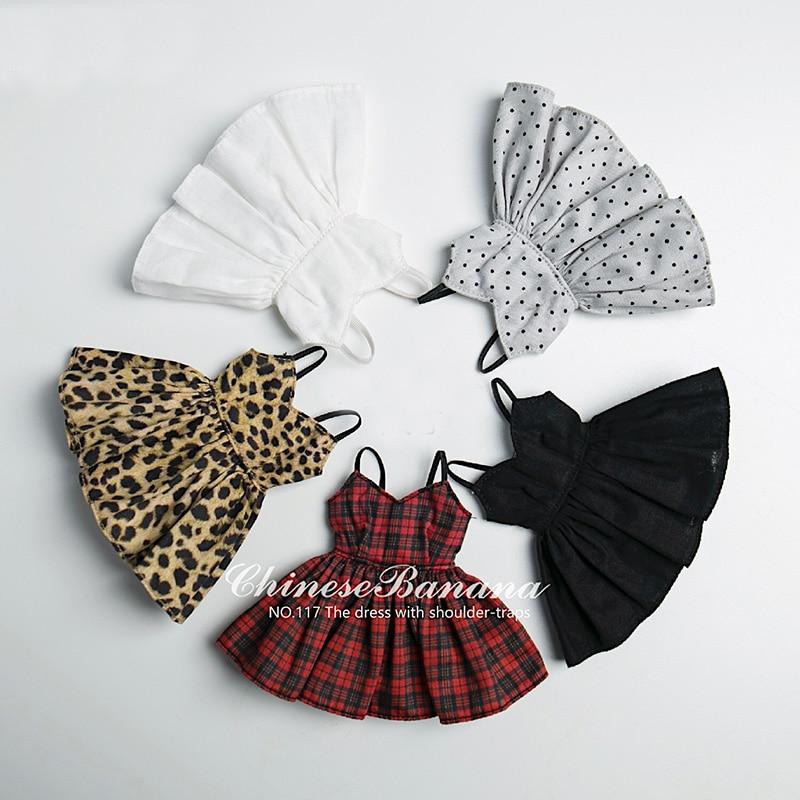 1 Uds nuevo lunares adorables/leopardo vestido para Blyth... Holala muñeca ropa camisas trajes Accesorios