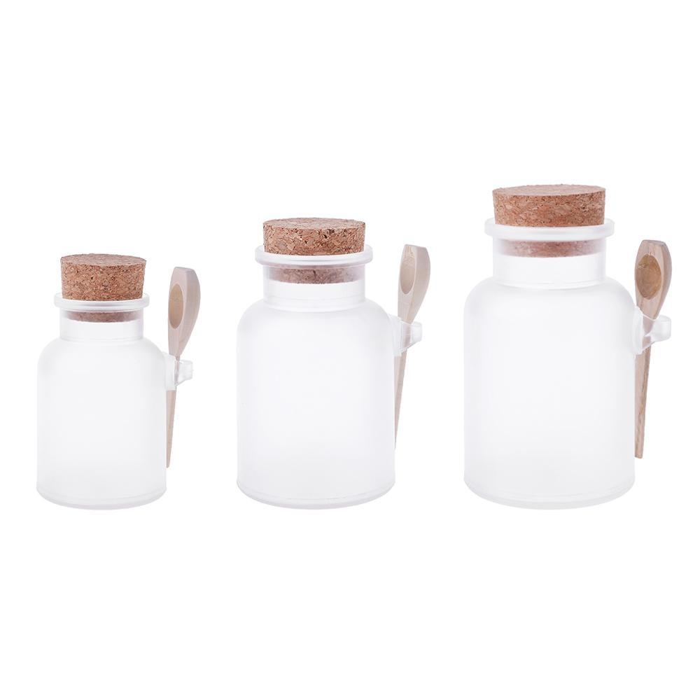 Scrub scrub banho de sal abs garrafa selada frasco de madeira colher de cortiça macia armazenamento rolha garrafa de vedação fosco garrafa recarregável máscara