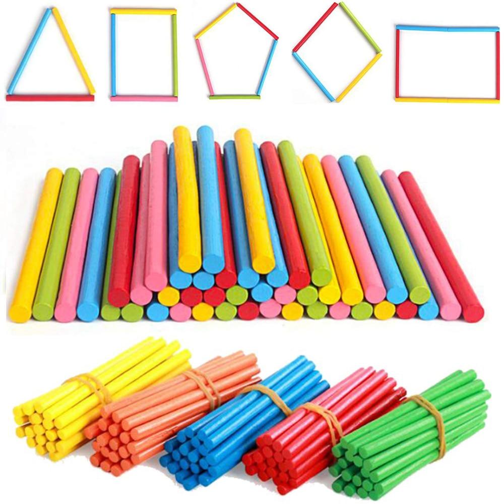 100 шт. цветные бамбуковые Счетные палочки, математика, учебные пособия Монтессори, счетные стержни для детей дошкольного математического об...