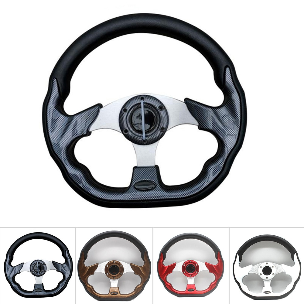 13in Golf Steering Wheel Aluminum + Carbon Fiber Sports Style For EZGO/CLUB CAR DS/YMH/CLUB CAR PRECEDENT Golf Cart Replacement