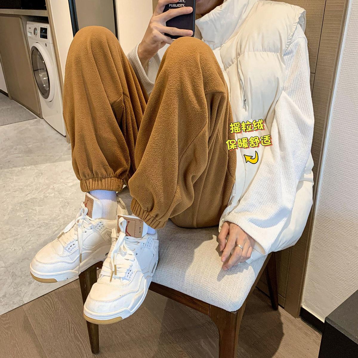 INXYZ 2021 Men's New Fleece Sweatpants Pure Color Plus Size Casual Korean Warm Waist Pants Women's A