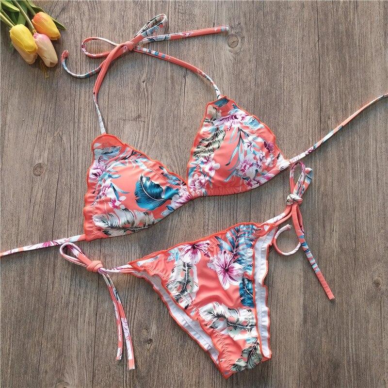 Mulher bandagem impressão flora biquíni maiô de duas peças sutiã praia tankini brasileiro buquini maillot de bain femme #40