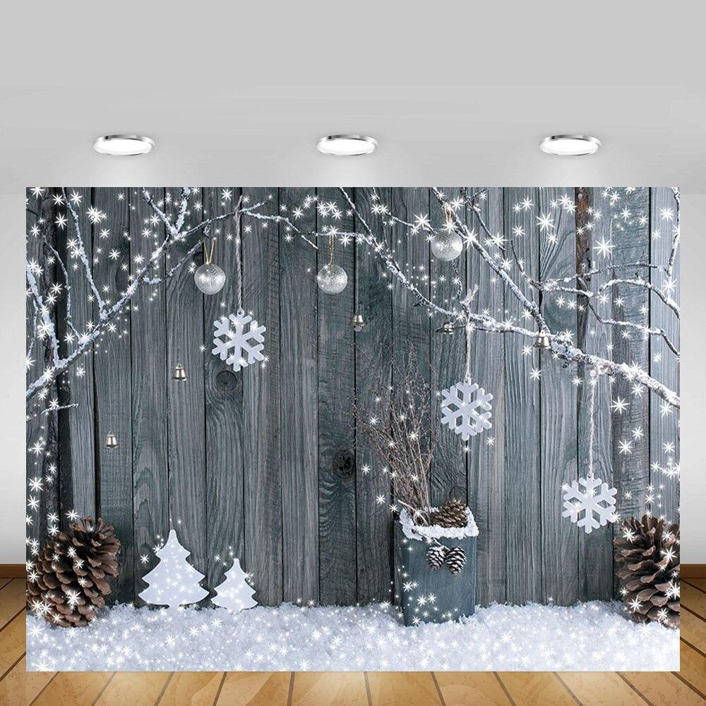 Mehofond invierno Navidad foto telón de fondo copo de nieve tablero de madera gris retrato de bebé decoración fotografía de fondo foto de estudio