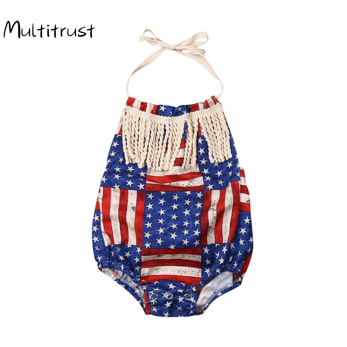 Body con borlas de algodón para bebé niño y niña de verano 2020, traje del 4 de julio con cuello Halter, conjunto de ropa para vacaciones