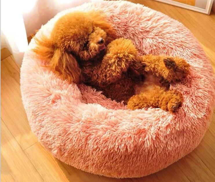 Cama de lana cálida para perros, cojín redondo para mascotas, para perros...