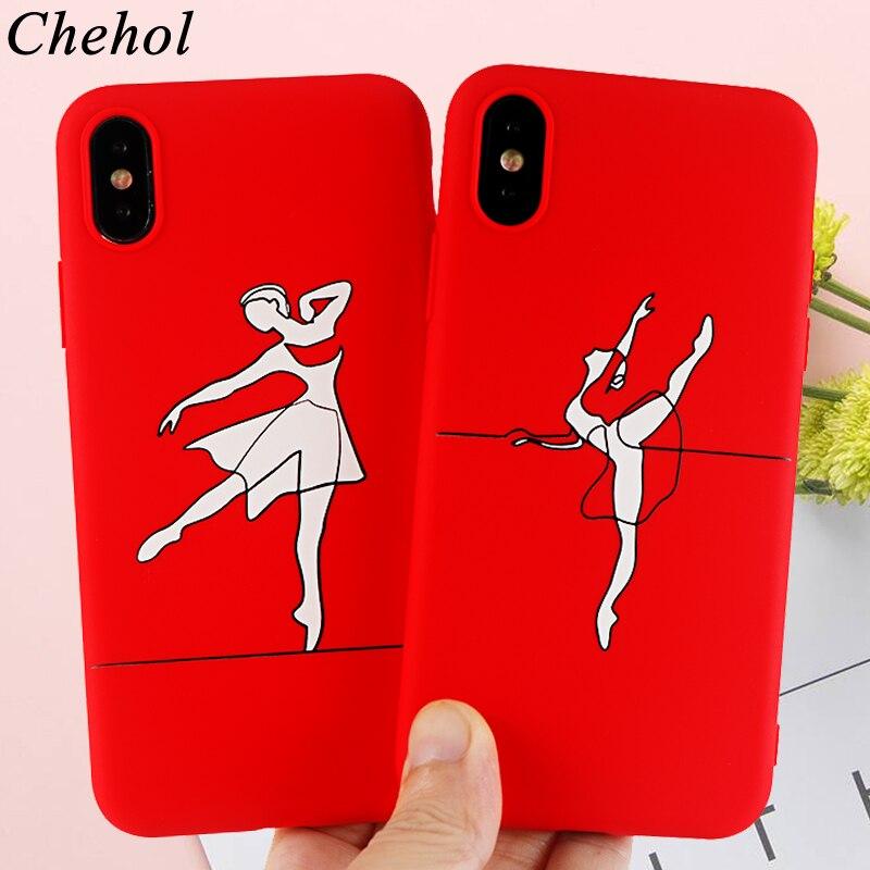 Menina personalidade caso de telefone para iphone x xs max xr 8 7 6s mais casos silicone macio cabido ballet dança volta cobre acessórios