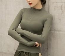Meia zip esportes casaco feminino apertado de manga comprida secagem rápida camisa base camisa de treinamento jaqueta de corrida roupas de fitness