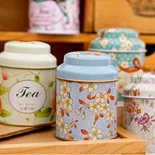 1pc Cartoon Flower Drawing Pattern Separation Storage Box home elegant storage box Tea Sugar Coffee Tin Box