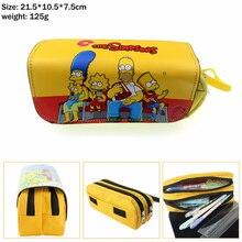 Bart Homer Marge Lisa Canvas Pencil Case Student penbag Women MakeupBag Cosmetic bag portable Zip Stationery Bags Stationery