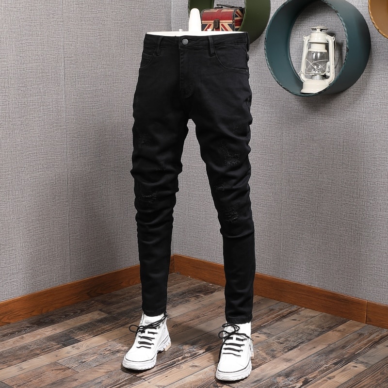 Модные мужские джинсы в Корейском стиле, эластичные хлопковые черные зауженные рваные джинсы, Мужские повседневные Простые Дизайнерские д...