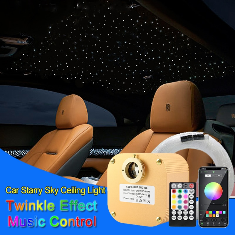 16 واط سيارة LED مصابيح داخلية النجوم أضواء السقف السماوية سقف نجمة الألياف البصرية وميض تأثير مصباح سيارة تعديل بلوتوث DIY بها بنفسك