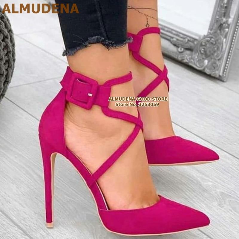 ALMUDENA-حذاء من جلد الغزال بأشرطة متقاطعة ، ومضخات بكعب عالٍ ، ومقدمة مدببة ، وإبزيم كاحل مربع ، وأحذية الزفاف ، والمآدب