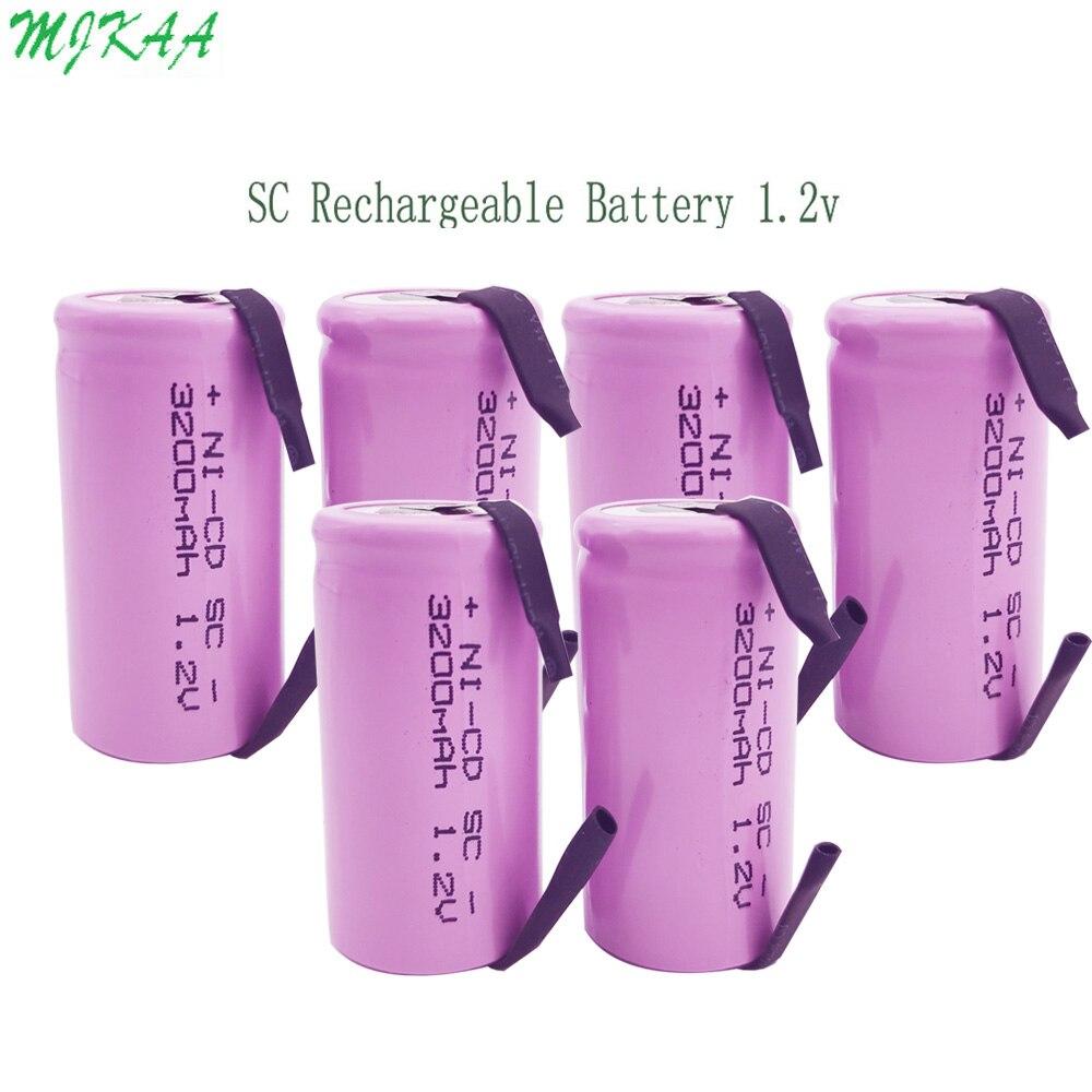 MJKAA, 15 Uds., SC 1,2 V 3200mAh ni-cd, batería recargable, Sub C NICD, baterías rosa para taladro eléctrico destornillador