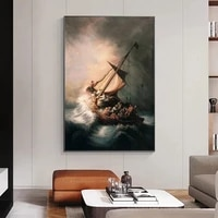christ in the storm on the sea of galilee canvas poster painting wall art decor living room bedroom study home decoration prints