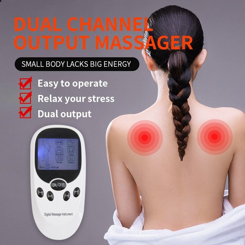 Двухканальный Электрический десяти терапия массажер расслабить мышцы боли стимулятор + 8 гелевые подушечки для здоровья подарок на день ро...