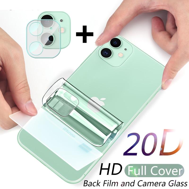 Film Hydrogel à couverture complète, protecteur d'écran arrière en verre trempé pour iPhone 11 12 Pro Max mini XR XS X 7 8 Plus