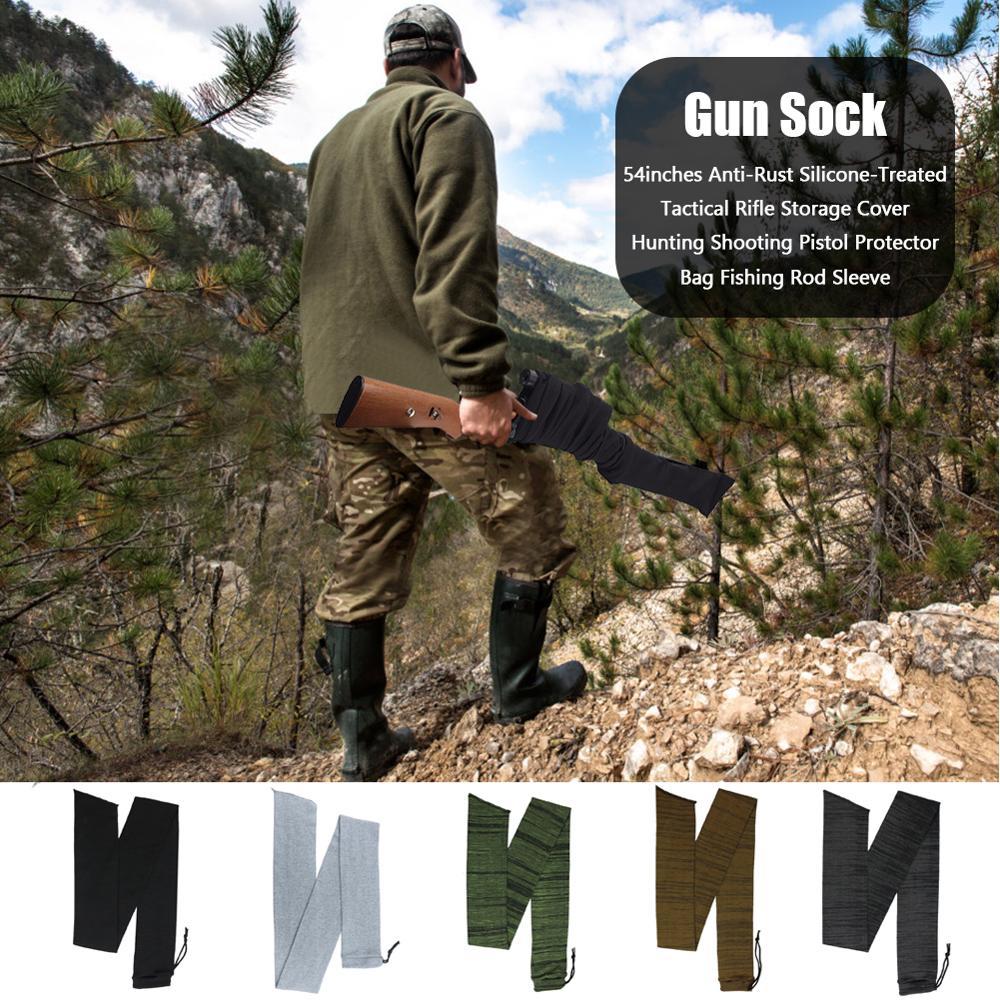 """54 """"/14"""" Airsoft Rifle arma calcetines táctico caza tiro pistola Protector funda silicona tratada caña de pescar manga"""