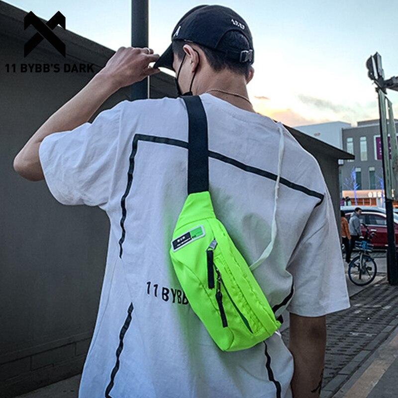 11 BYBBS DARK Mens Bag bolsa de cintura bolsa de hervidor inclinado bolsos de hombro Crossbody Chest Travel bolso cinturón bolsa multifunción