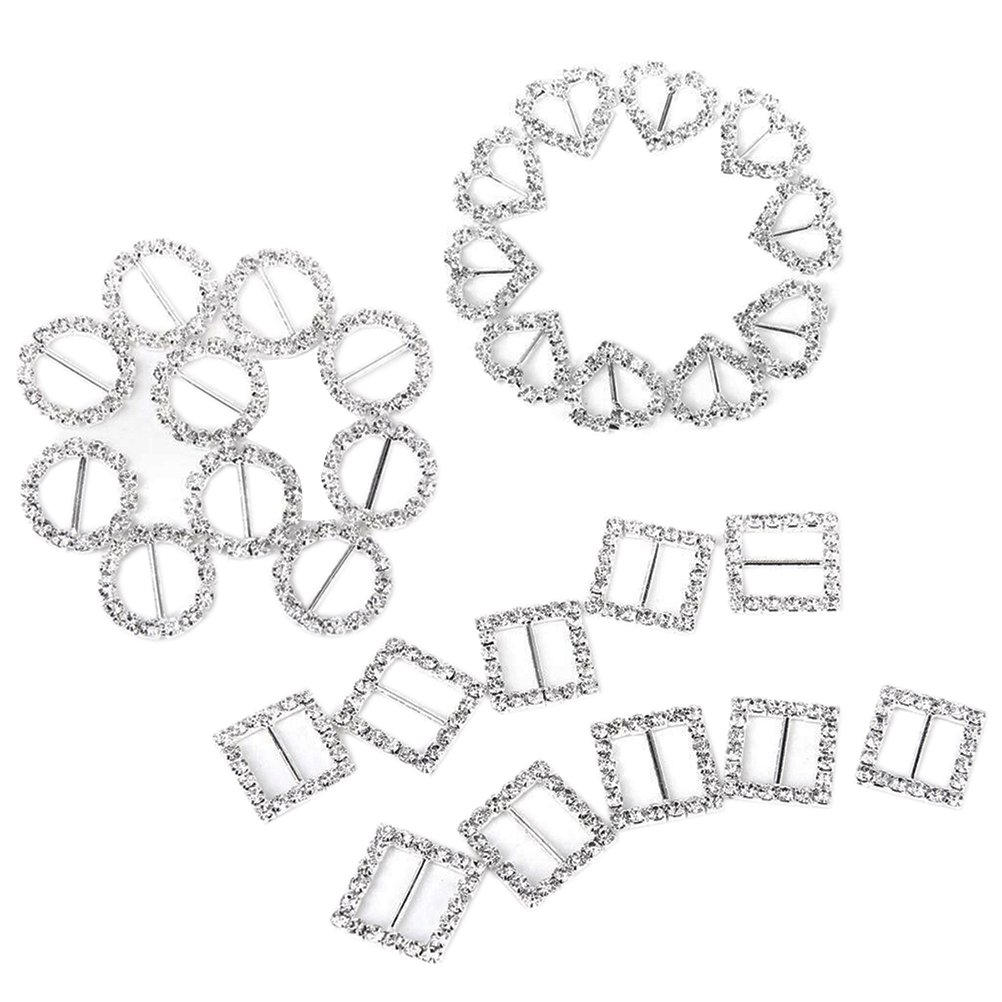 10pcs Sweet Heart-shaped Square Round Rhinestone Ribbon Buckle Sliders for DIY Craft Wedding Card Invitation