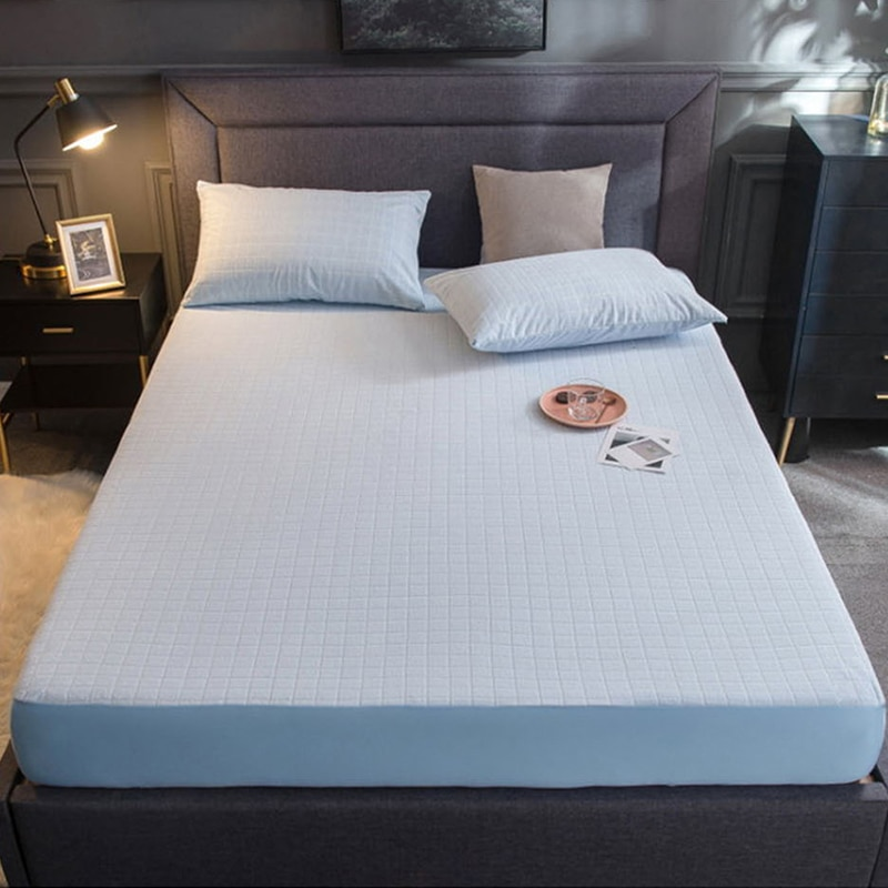 Funda de colchón de algodón resistente al agua, funda protectora de colchón para cama, Sábana de cama transpirable con banda elástica
