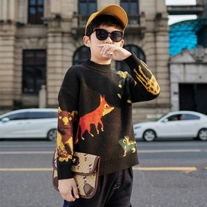 More than 8T Toddler Kid Boy Clothes Autumn Winter Warm pullover Top Long Sleeve Plain Sweater Fashion Knitted gentleman Outfit