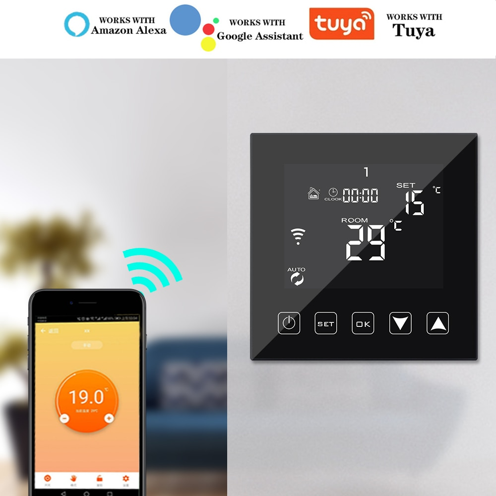Tuya 16A 3A واي فاي الذكية ترموستات التدفئة الكهربائية الكلمة المياه/الغاز المرجل تحكم في درجة الحرارة العمل مع جوجل المنزل