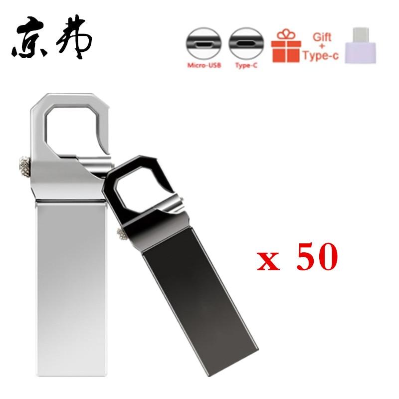 50pcs Pendrive Metal Memoria Usb Flash Drive 32GB 128MB 256MB Waterproof Pen Drive 16G 8G 4GB Flash Usb Stick U Disk Custom Logo