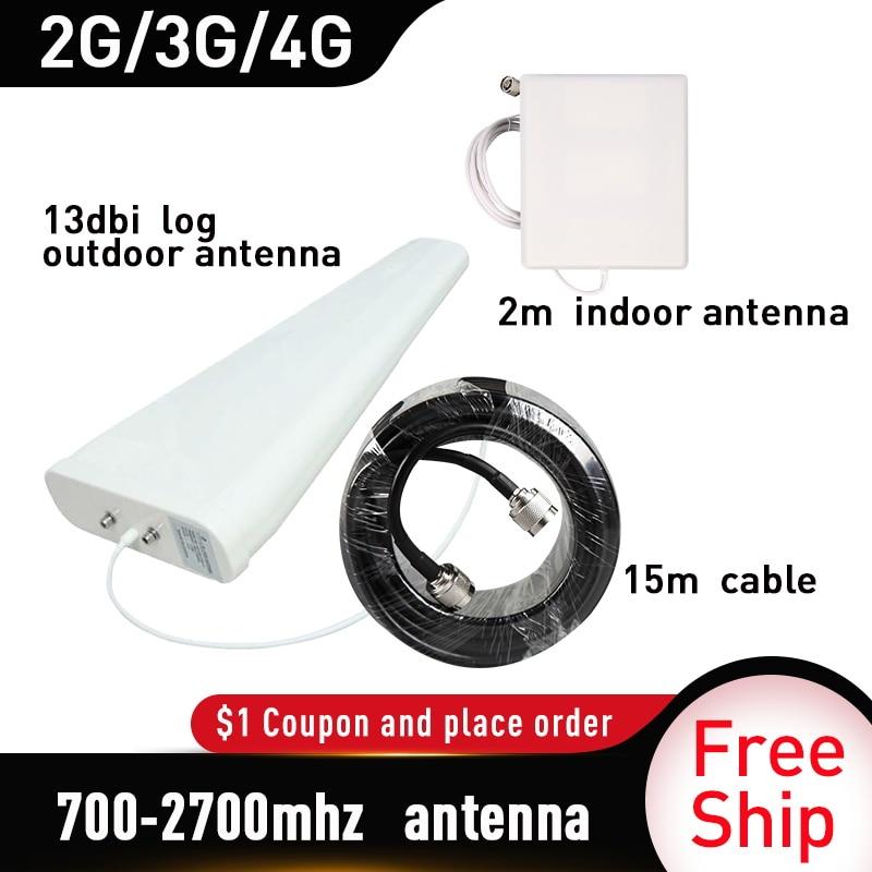 700-2700MHz gain 13dbi log Antenne Volle Set Signal Repeater Zubehör für GSM UMTS DCS PCS 3G 4G LTE Handy Signal Booster