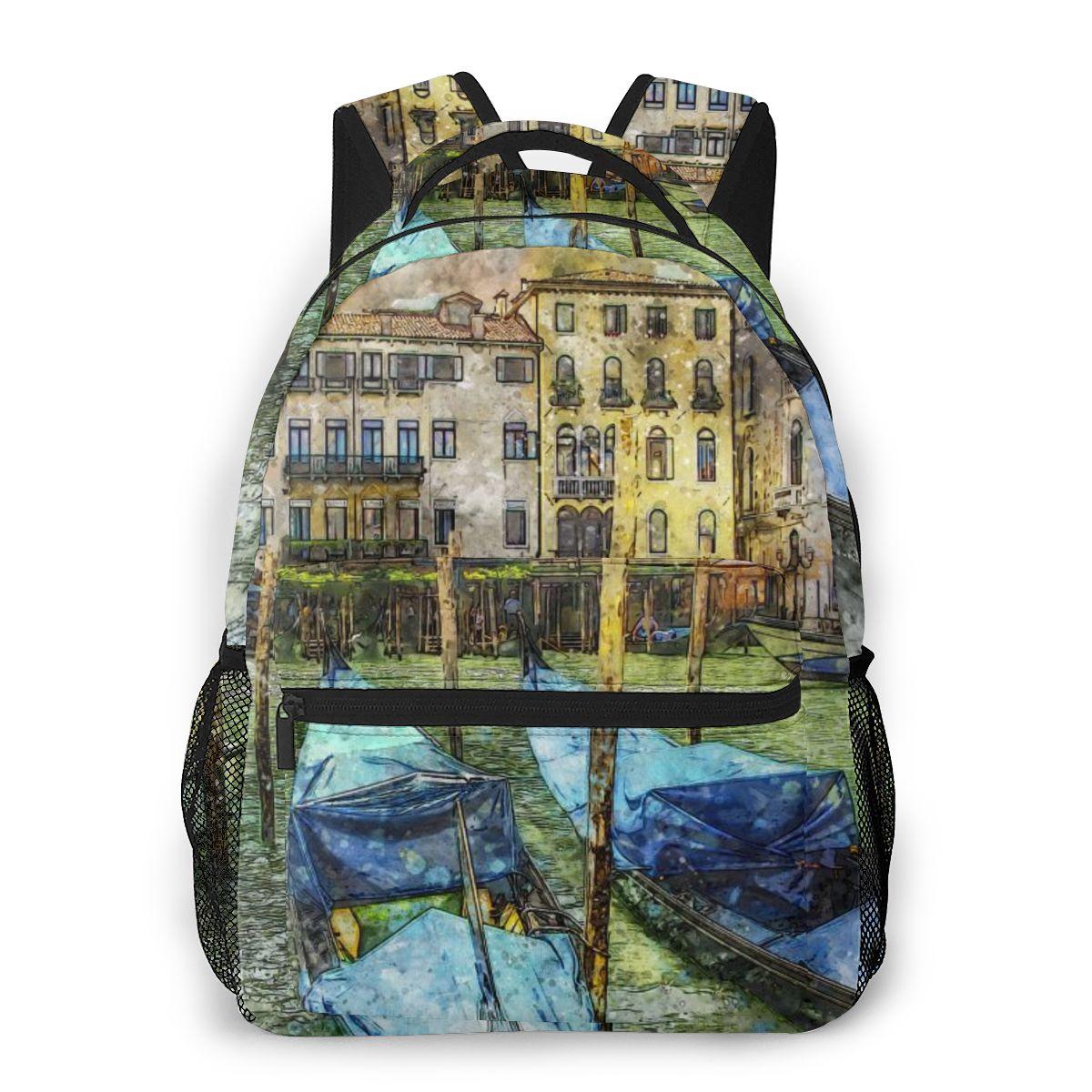 Fashion Backpack Women Men Unisex Students Backpacks Venice Venetian Evening Gondola Canal Italy Travel bag Bookbag