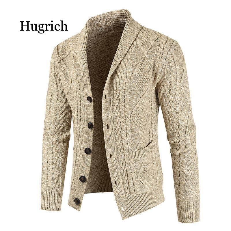 Men's casual winter sweater slim-fit style thick single-breasted blouse 2021 new coat