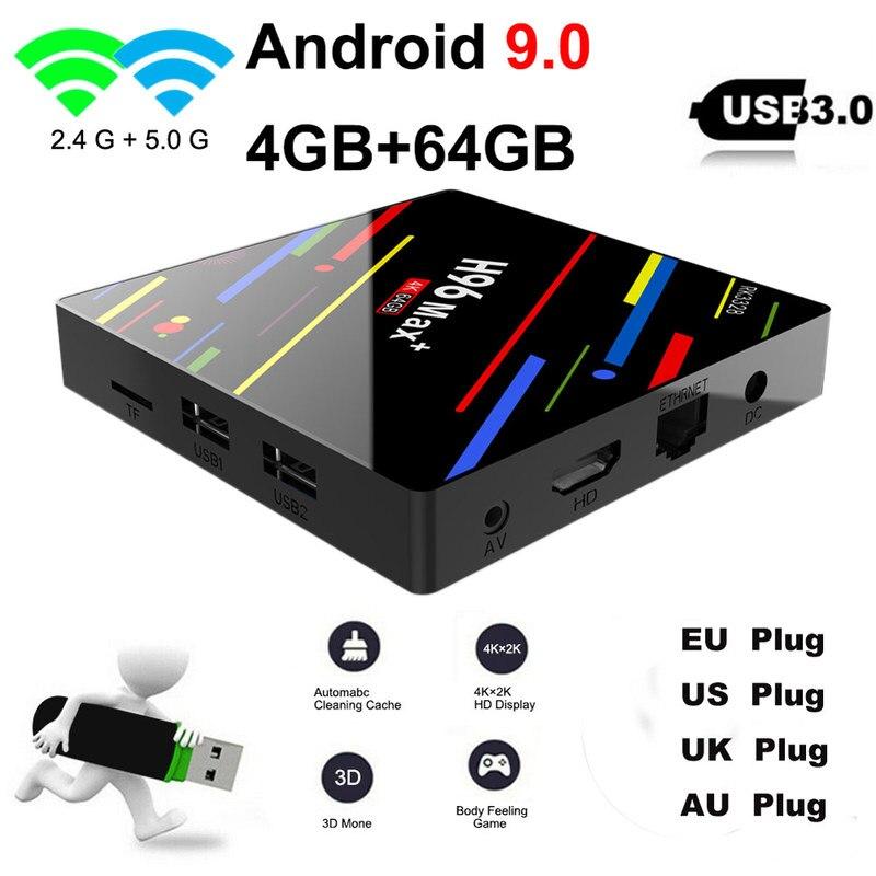 TV Box H96 MAX Plus, Android 9,0, con receptor inteligente RK3328, 4GB, 32GB, 64GB, wi-fi 5 GHz, 4K, H.265, reproductor multimedia, H96 Pro, H2, PK X96 MAX