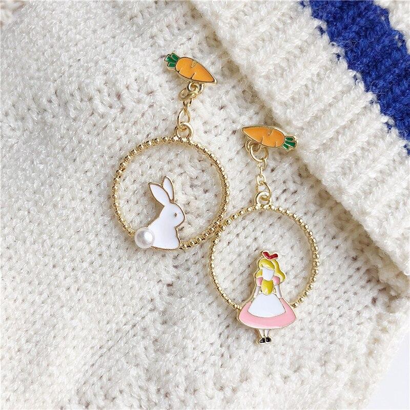 AliExpress - Fashion popular sweet rabbit earrings metal lovely temperament asymmetric joker girl drop glaze stud earrings