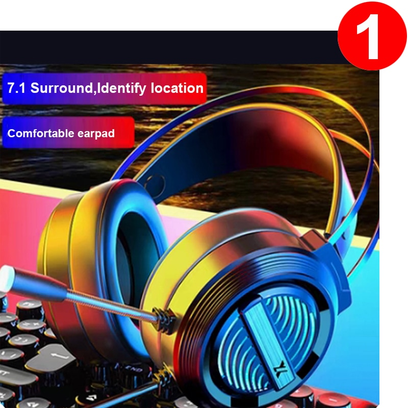 Gaming Headset Gaming Headphones For PC With Microphone 7.1 Surround Stereo Volume Control For Compu