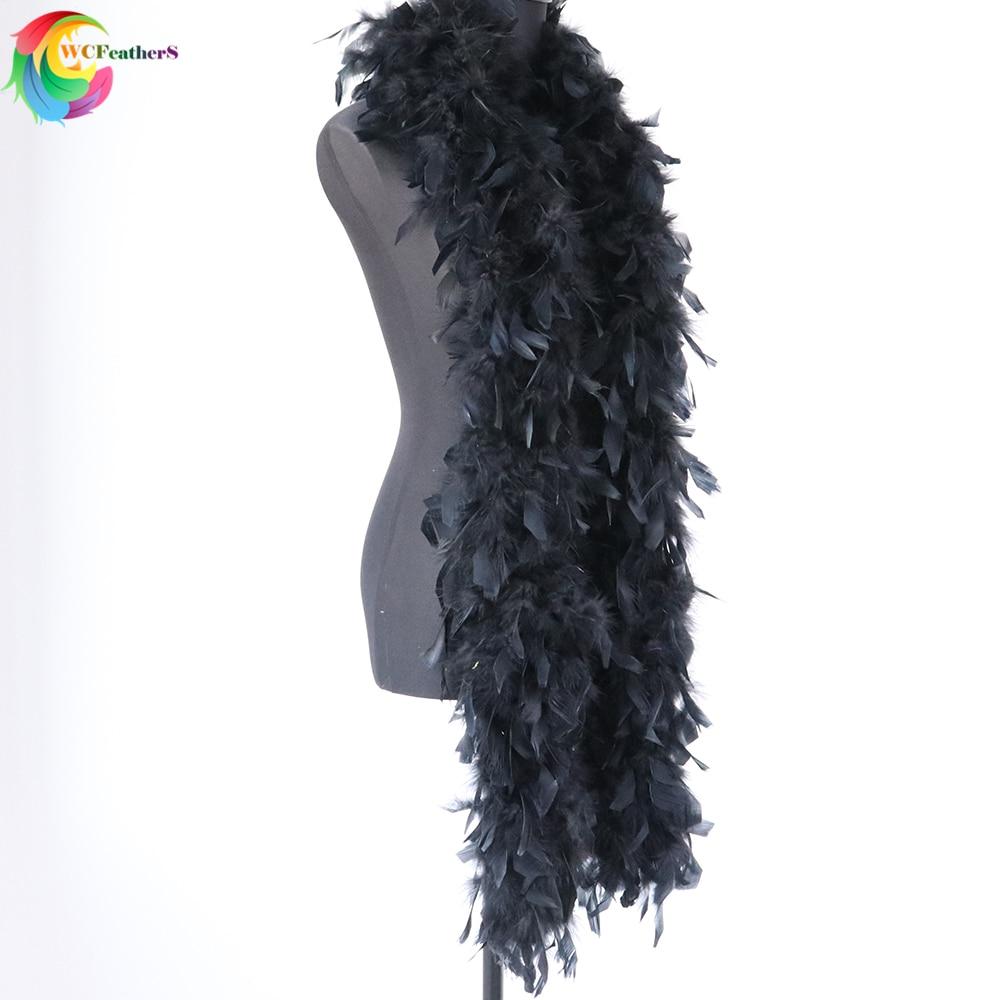 2 yardas de teñido de negro Boa de plumas de pavo 90 gramos plumas bufanda chal para boda fiesta ropa Decoraion artesanía
