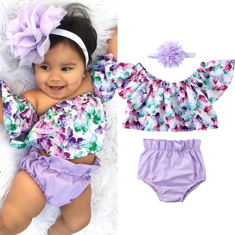 Боди AA для новорожденных девочек, 3 шт., боди для новорожденных девочек с фиолетовыми цветами, комбинезон, повязка на голову, одежда, наряд на ...