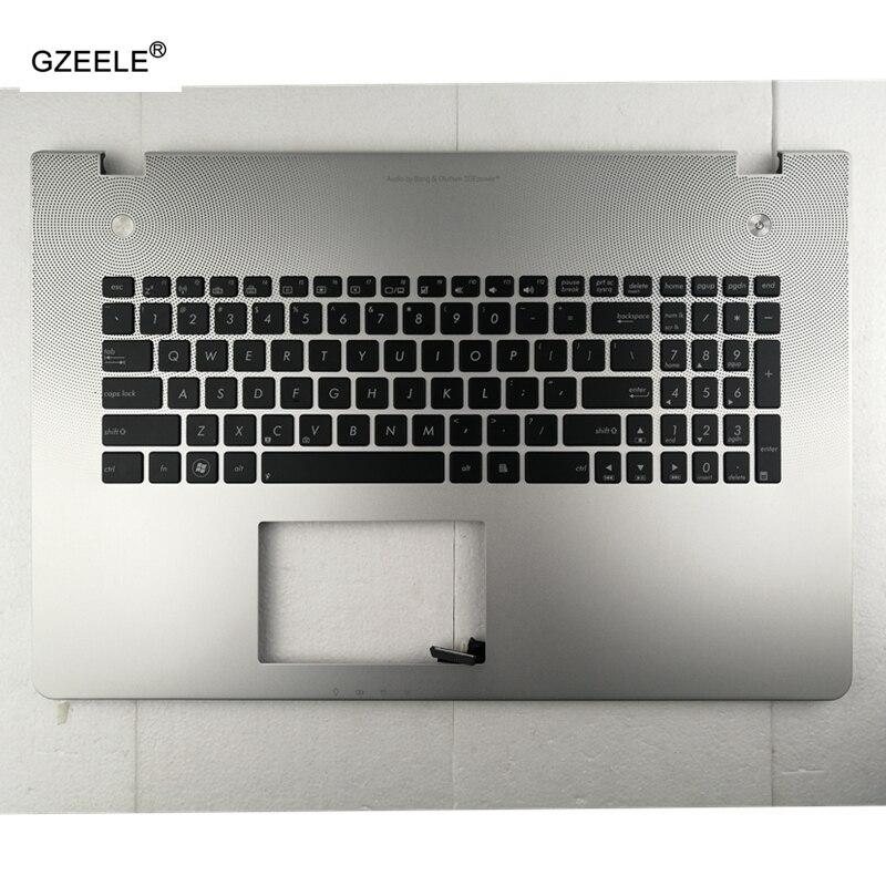 لوحة مفاتيح الكمبيوتر المحمول US لـ ASUS N76VZ N76S N76VJ N76V N76VM N76 N76VB ، مع إضاءة خلفية C shell باللون الفضي ، مسند المعصم الإنجليزي الجديد