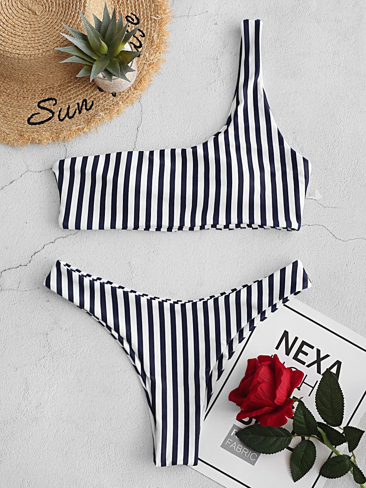 Zaful rayas hombro alta corte Bikini traje De baño Maillot De Bain mujer Bikini nuevo 2020