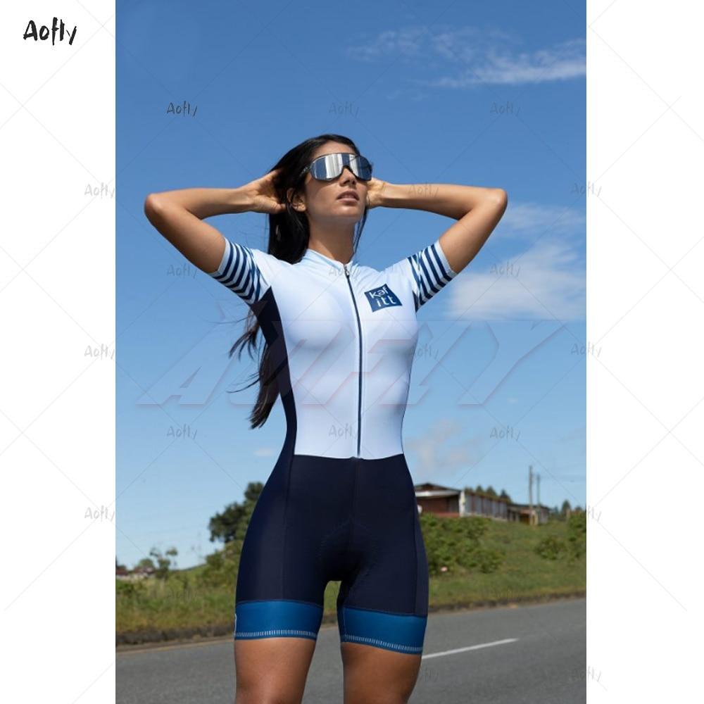 Kafitt Team 2020 Light Blue Female Cycling Suit Sexy Jumpsuit Women Men Sports Skinsuit Benfica Triathlon Woman Race Bike Gel