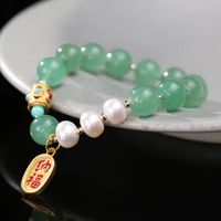 original design pearl green strawberry crystal bracelet temperament lucky charm pendant high end jewelry for women